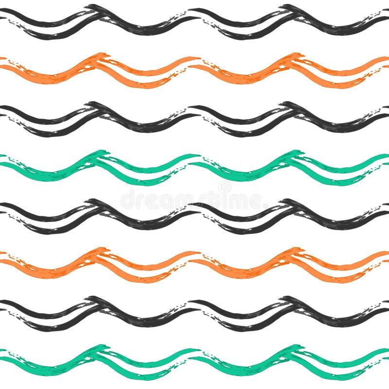 与手拉的波浪的无缝的样式 库存例证