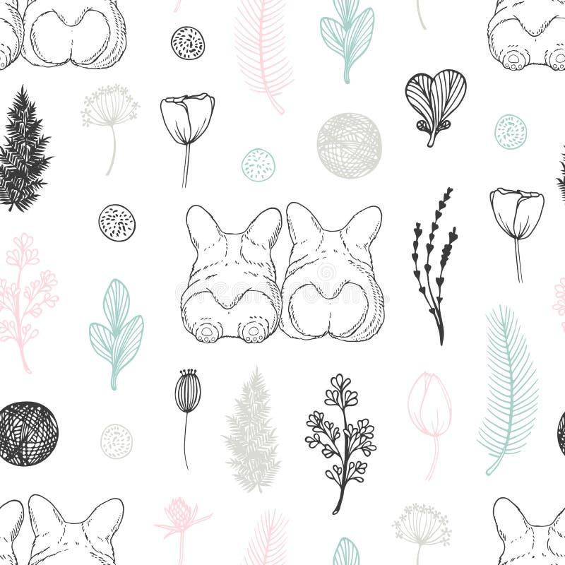 与手拉的狗和花的淡色无缝的样式 背景逗人喜爱的乱画 向量例证