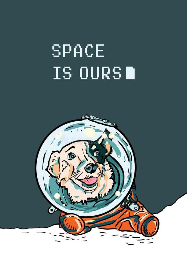 与手拉的狗的传染媒介海报在空间随员 在橙色连衫裤的滑稽的小狗明信片的,飞行物 皇族释放例证