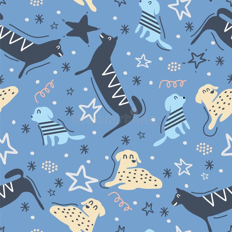 与手拉的狗的幼稚无缝的样式 时髦斯堪的纳维亚传染媒介背景 好为纺织品印刷品装饰 向量例证
