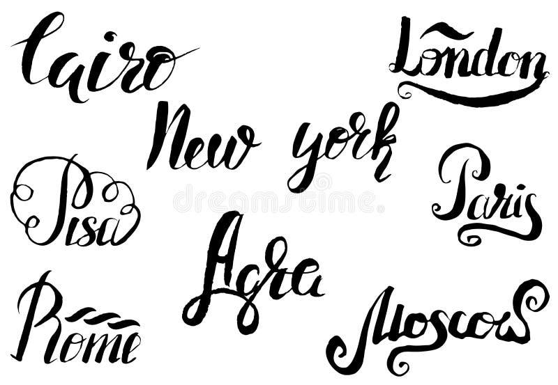 与手拉的狮身人面象的开罗标签,在开罗上写字,纽约,伦敦,比萨,巴黎,阿格拉,罗马,莫斯科 向量例证