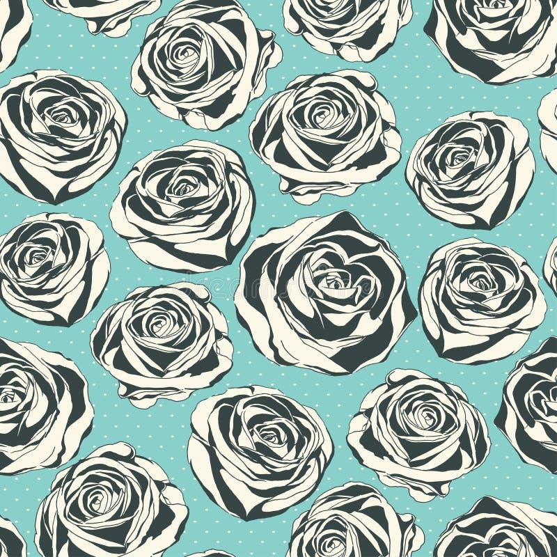 与手拉的玫瑰的葡萄酒花卉样式 向量例证