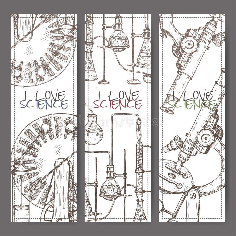 与手拉的科学设备剪影的三副横幅 向量例证