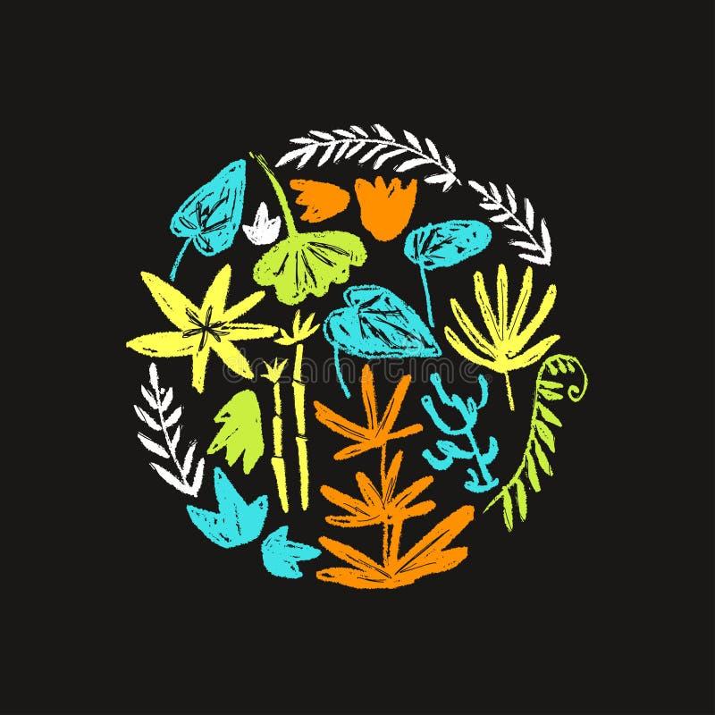 与手拉的织地不很细史前植物的传染媒介圆的例证 天真孩子拉长的样式 向量例证