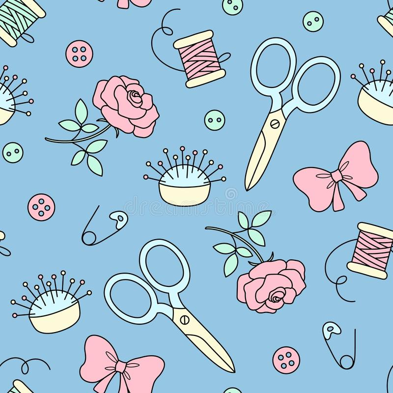 与手拉的缝合的乱画的无缝的样式 在逗人喜爱的动画片样式的时尚背景 针床,剪刀,鞠躬 库存例证