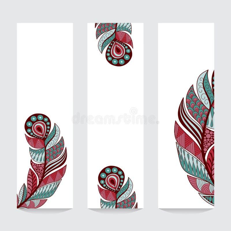 与手拉的羽毛的五颜六色的垂直的横幅 库存例证