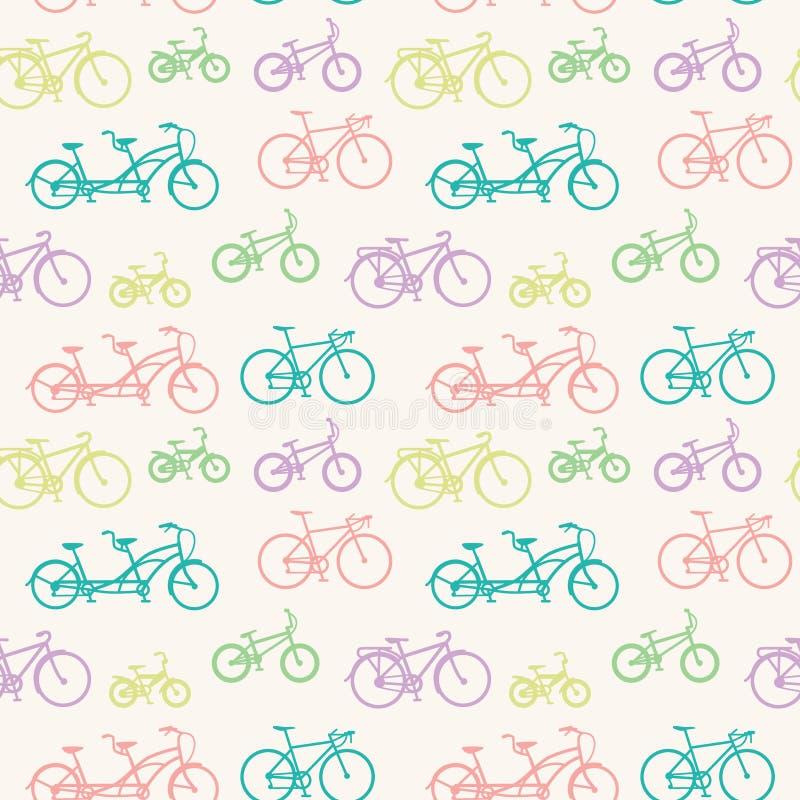 与手拉的自行车的无缝的样式 向量例证