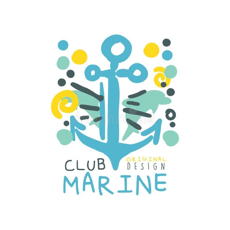 与手拉的船锚的蓝色和黄色创造性的海洋题材例证海俱乐部商标原始的设计的 拉长的现有量 皇族释放例证