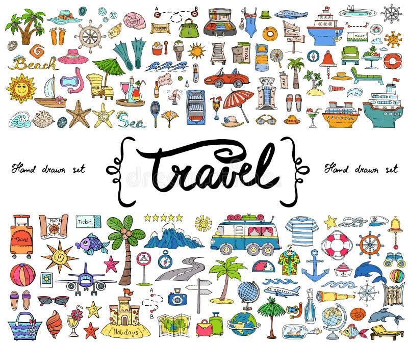 与手拉的色的乱画的传染媒介集合在旅行,旅游业题材  剪影用于设计 皇族释放例证