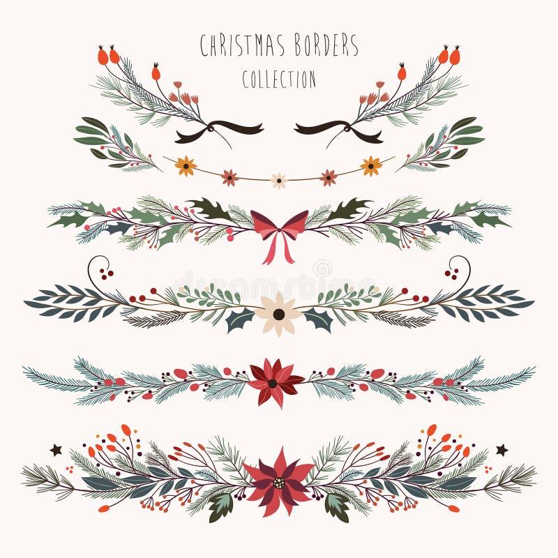 与手拉的花卉分支的圣诞节装饰边界 皇族释放例证