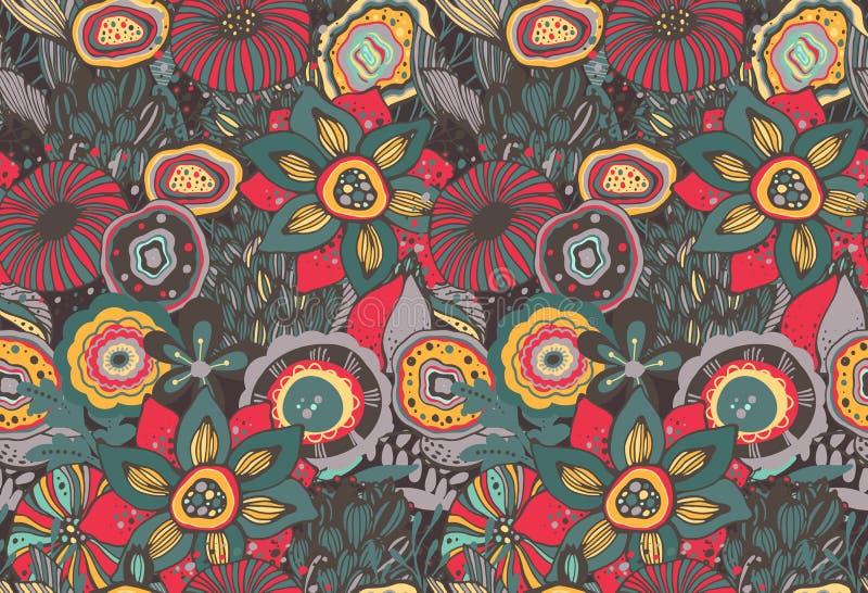 与手拉的花卉幻想主题的无缝的样式 向量例证