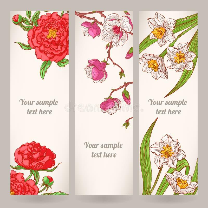 与手拉的花的三副横幅 库存例证