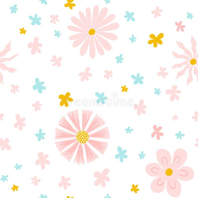 与手拉的花的美好的无缝的样式 纸、墙纸、盖子、织品和其他用户的现代抽象设计 Ve 向量例证