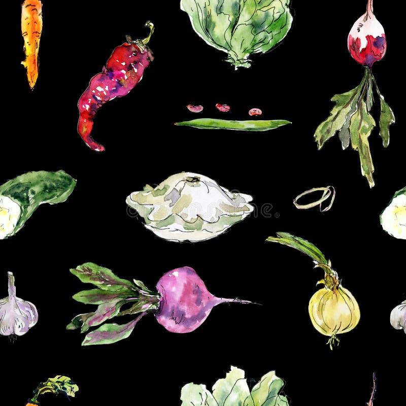 与手拉的菜的无缝的水彩样式 甜菜根,萝卜,红萝卜,豆,豌豆,荚,朝鲜蓟,辣椒 免版税库存图片