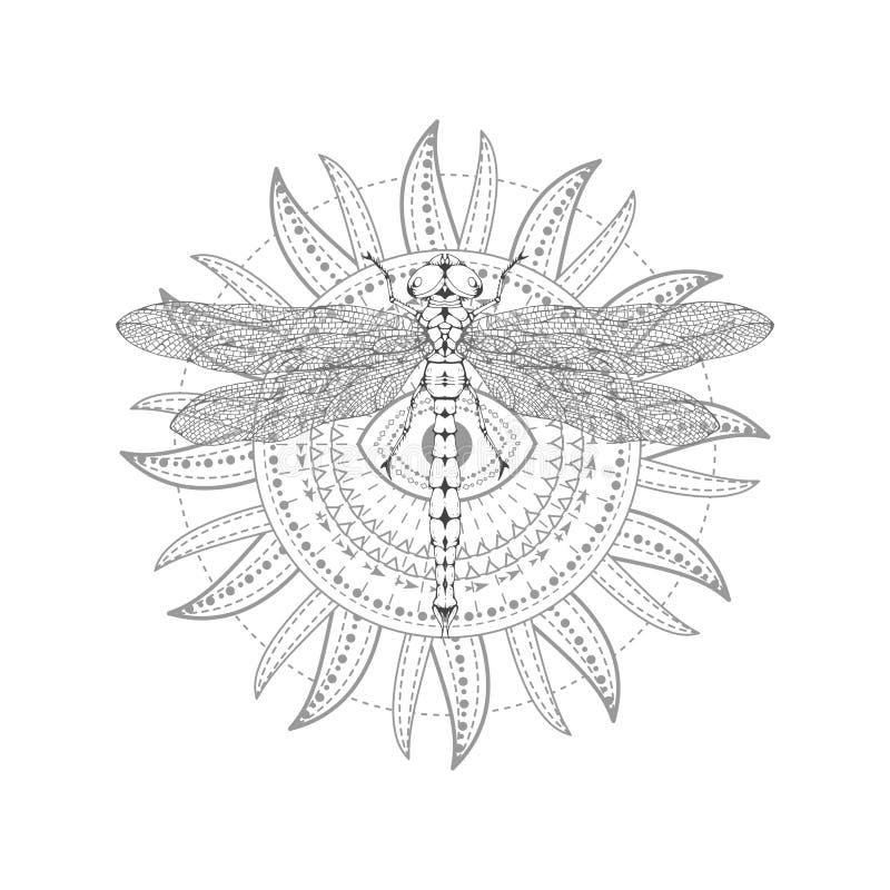 与手拉的蜻蜓的传染媒介例证和在白色背景的神圣的标志 抽象神秘的标志 黑线性形状 为 库存例证