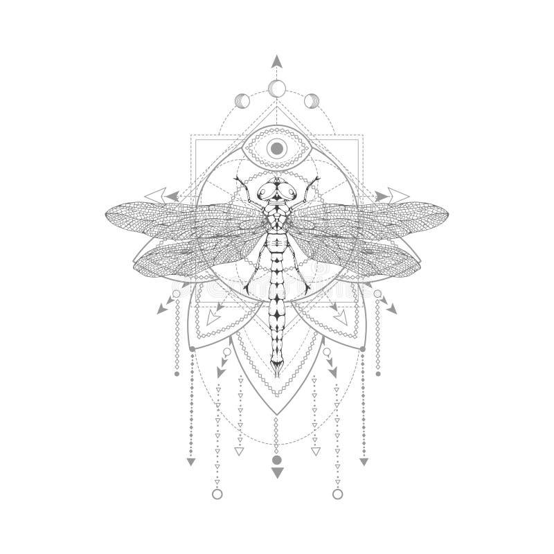 与手拉的蜻蜓的传染媒介例证和在白色背景的神圣的标志 抽象神秘的标志 库存例证
