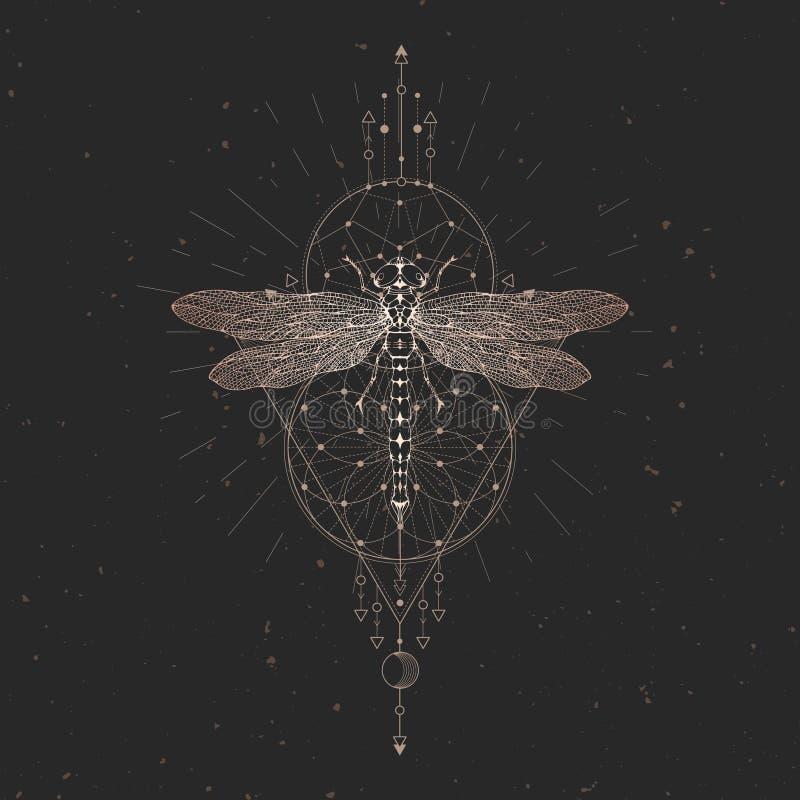 与手拉的蜻蜓的传染媒介例证和在黑葡萄酒背景的神圣的几何标志 抽象神秘的标志 金子 向量例证