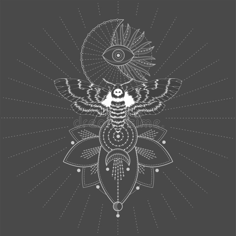 与手拉的蝴蝶免票的人的传染媒介例证和在黑背景的神圣的几何标志 抽象神秘的标志 皇族释放例证
