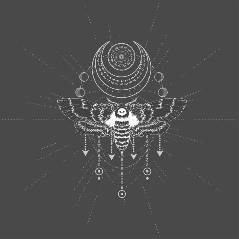 与手拉的蝴蝶免票的人的传染媒介例证和在黑背景的神圣的标志 抽象神秘的标志 向量例证