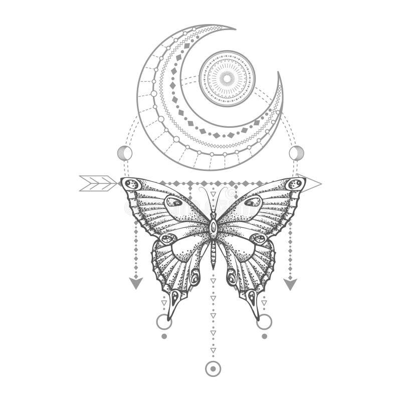 与手拉的蝴蝶的传染媒介例证和在白色背景的神圣的几何标志 抽象神秘的标志 皇族释放例证