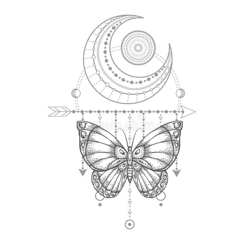 与手拉的蝴蝶的传染媒介例证和在白色背景的神圣的几何标志 抽象神秘的标志 向量例证