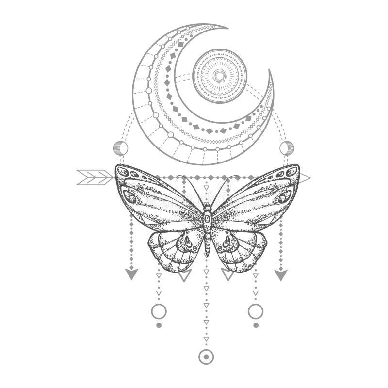 与手拉的蝴蝶的传染媒介例证和在白色背景的神圣的几何标志 抽象神秘的标志 库存例证
