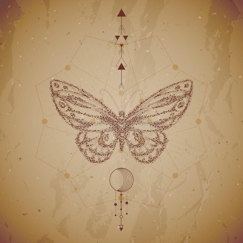 与手拉的蝴蝶的传染媒介例证和在葡萄酒纸背景的神圣的几何标志 小点图表 向量例证