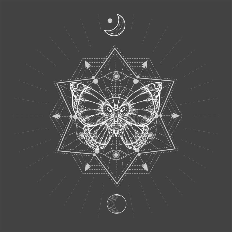 与手拉的蝴蝶的传染媒介例证和在黑背景的神圣的几何标志 抽象神秘的标志 向量例证