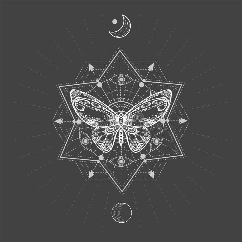 与手拉的蝴蝶的传染媒介例证和在黑背景的神圣的几何标志 抽象神秘的标志 皇族释放例证