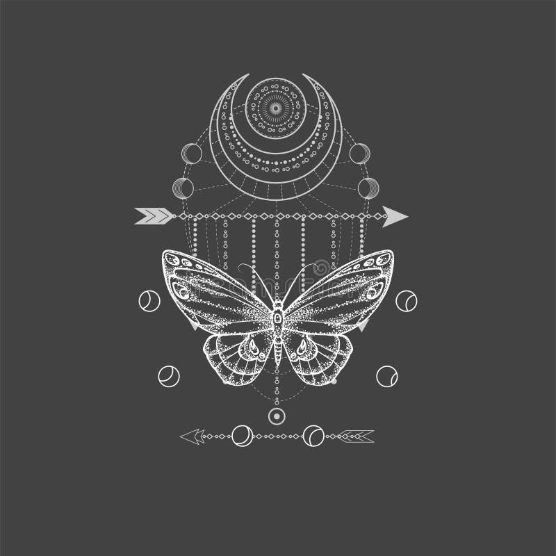 与手拉的蝴蝶的传染媒介例证和在黑背景的神圣的几何标志 抽象神秘的标志 库存例证