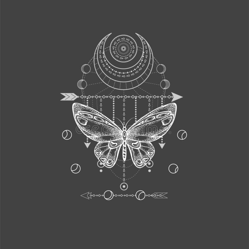 与手拉的蝴蝶的传染媒介例证和在黑背景的神圣的几何标志 抽象神秘的标志 白色线性 库存例证