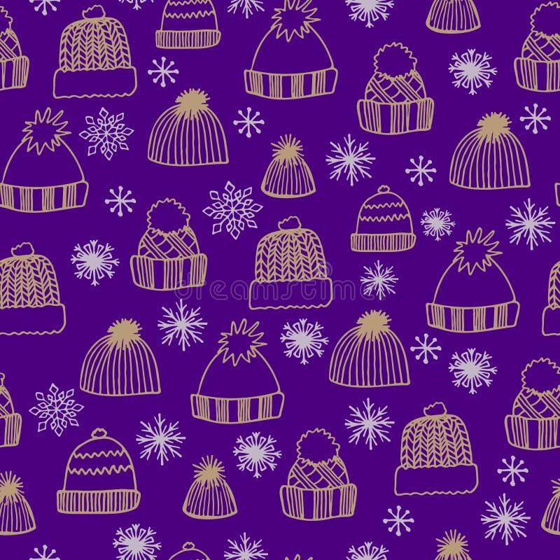 与手拉的被编织的帽子和雪花的冬天无缝的样式在紫色背景 皇族释放例证