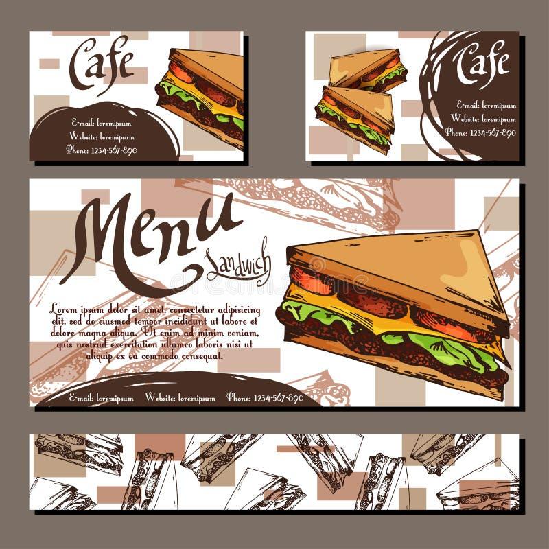 与手拉的设计的咖啡馆菜单 快餐餐馆菜单模板用三明治 套公司本体的卡片 传染媒介il 皇族释放例证