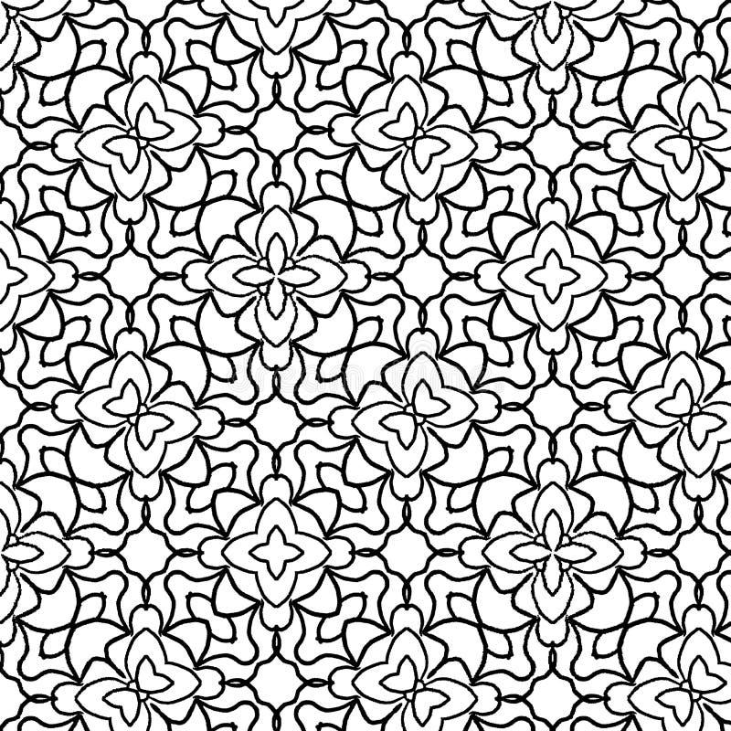 与手拉的质量的黑白无缝的花卉样式 皇族释放例证