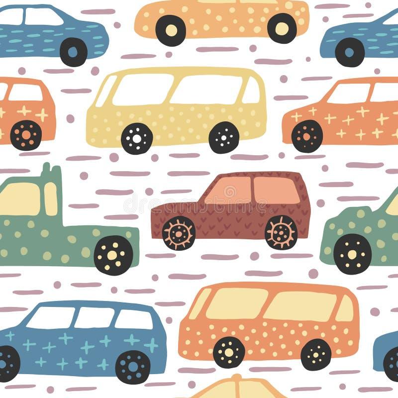 与手拉的逗人喜爱的汽车的无缝的样式 乱画汽车导航例证 向量例证