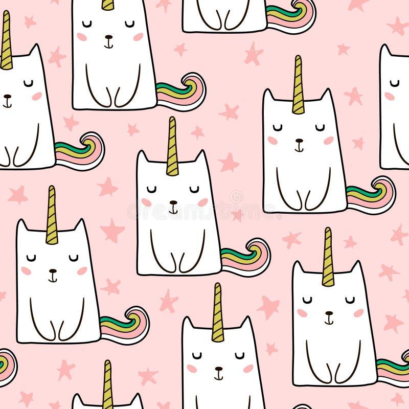与手拉的逗人喜爱的猫独角兽的无缝的样式 动物动画片猫domastic例证宠物 为孩子织品,纺织品,托儿所wallp完善 皇族释放例证