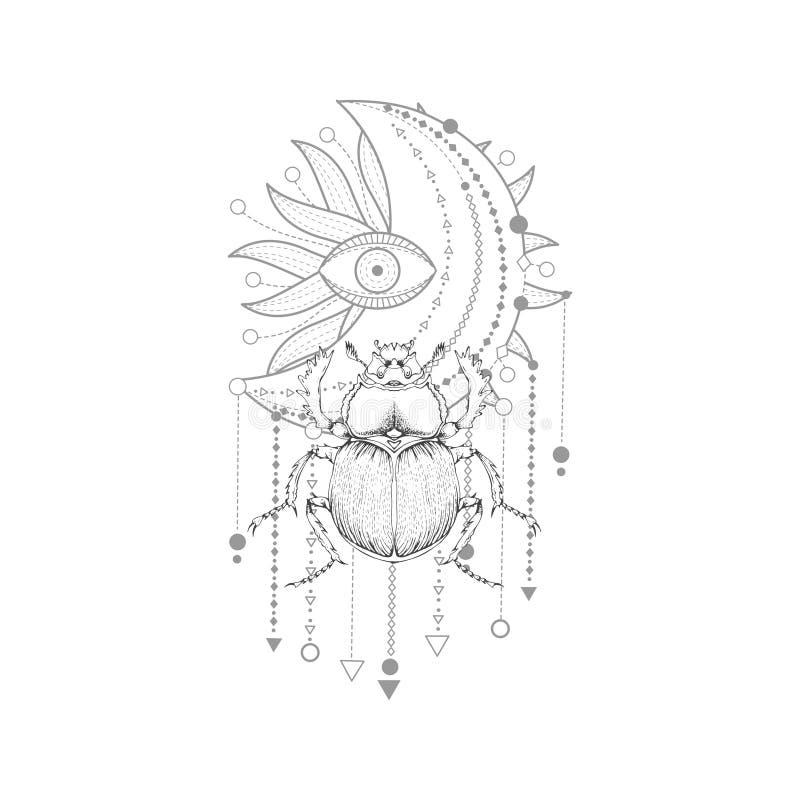 与手拉的金龟子的传染媒介例证和在白色背景的神圣的标志 抽象神秘的标志 向量例证