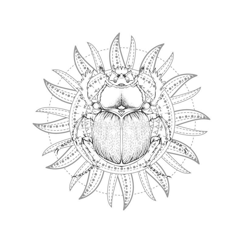 与手拉的金龟子的传染媒介例证和在白色背景的神圣的标志 抽象神秘的标志 库存例证