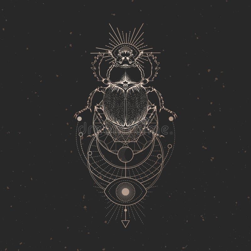 与手拉的金龟子的传染媒介例证和在黑葡萄酒背景的神圣的几何标志 抽象神秘的标志 库存例证