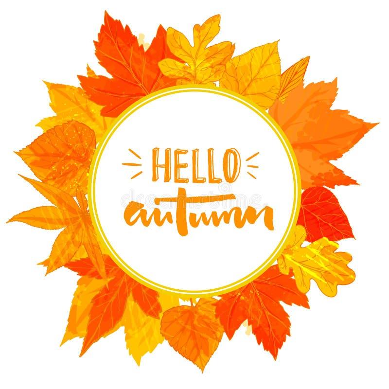 与手拉的金黄叶子的秋天圆的框架 你好在花圈的秋天文本 秋天问候设计 皇族释放例证