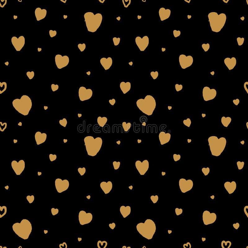 与手拉的金黄心脏的传染媒介无缝的样式 向量例证