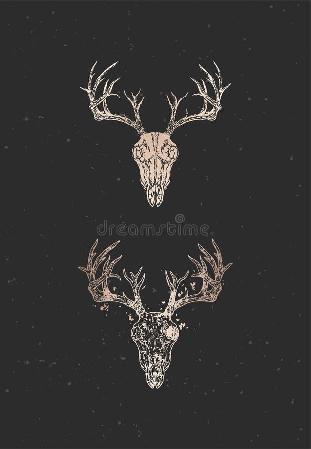 与手拉的鹿头骨两个变形的传染媒介例证在黑背景的 金子剪影和等高与难看的东西 皇族释放例证