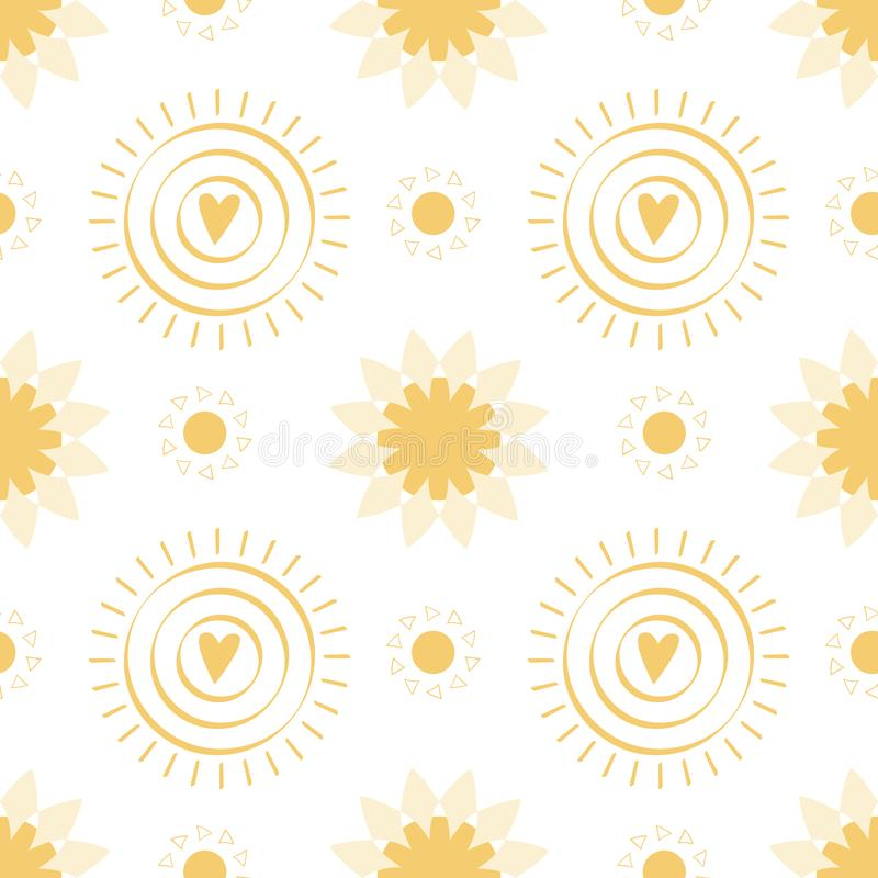 与手拉的黄色乱画太阳的无缝的样式在白色背景夏天例证 库存例证