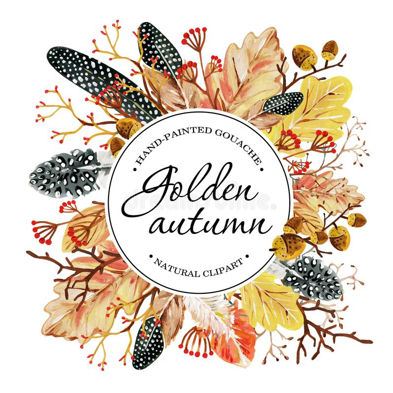 与手拉的黄色秋天橡木叶子、橡子、莓果、被察觉的羽毛和圈子领域的请帖积土的 库存例证