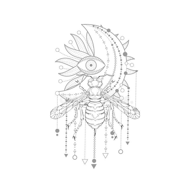 与手拉的黄蜂的传染媒介例证和在白色背景的神圣的标志 抽象神秘的标志 库存例证