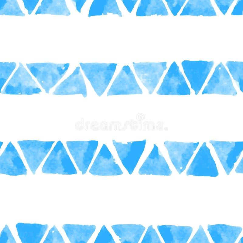 与手拉的水彩三角的无缝的传染媒介样式 与斑点的天真背景 背景无缝的向量 皇族释放例证