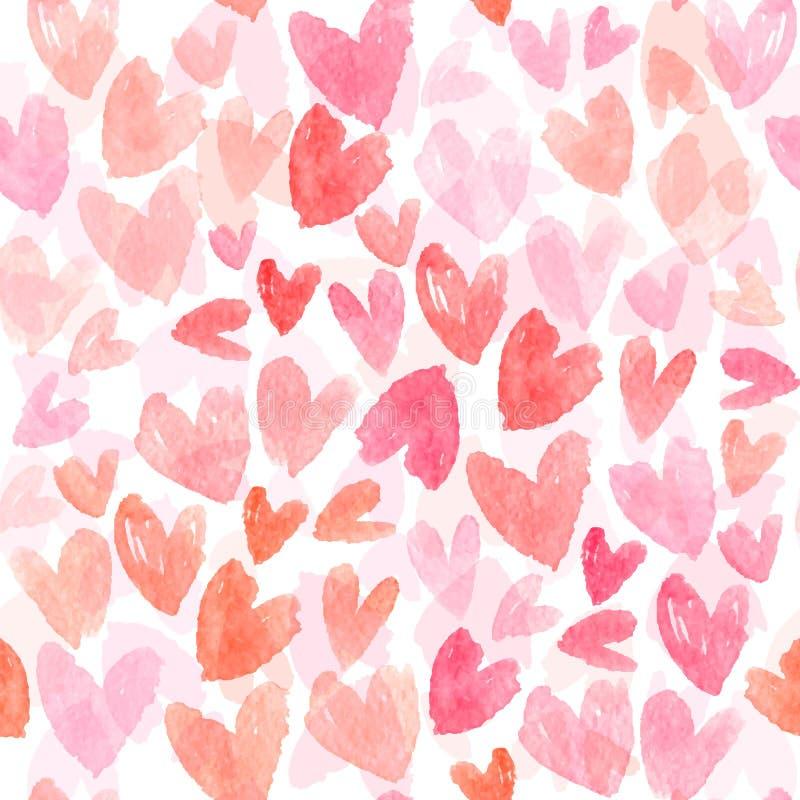 与手拉的水彩心脏的无缝的传染媒介样式 与桃红色心脏的浪漫背景 无缝的向量 皇族释放例证