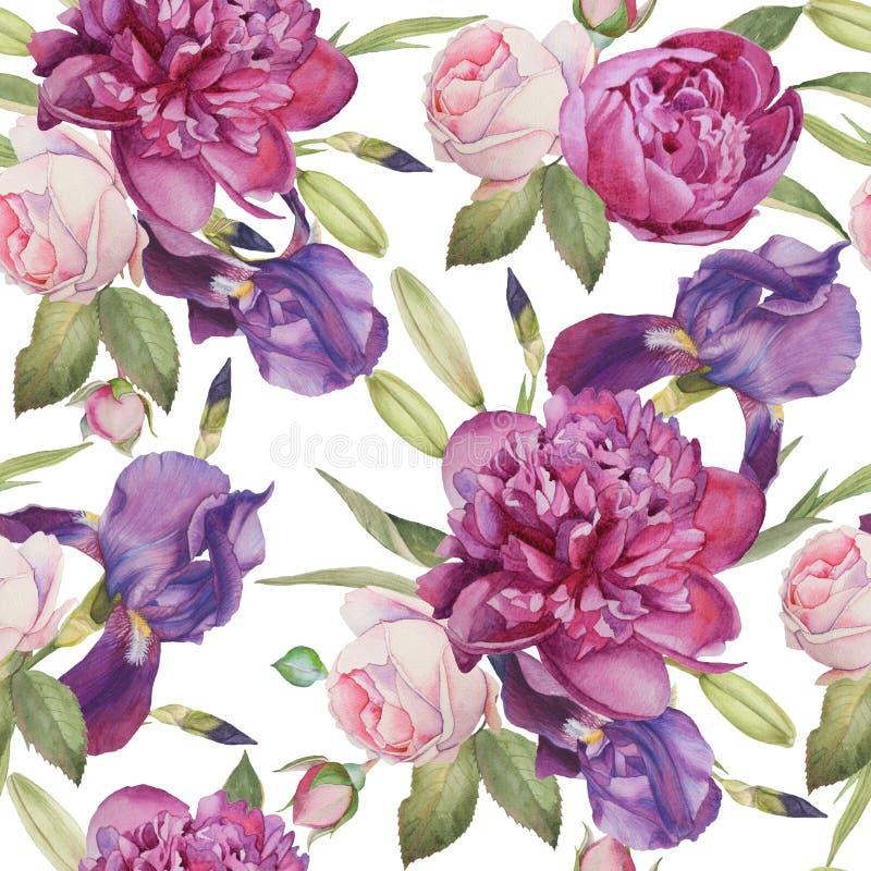 与手拉的水彩牡丹、玫瑰和虹膜的花卉无缝的样式 向量例证