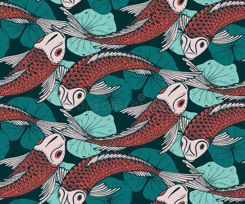 与手拉的Koi鱼的无缝的传染媒介样式 向量例证
