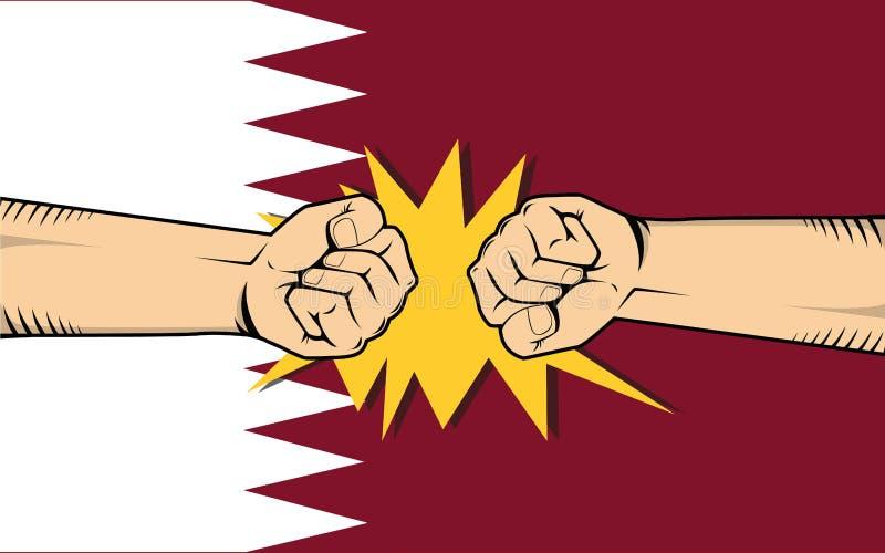 与手拳头碰撞战斗的卡塔尔抗议与作为背景的卡塔尔旗子 向量例证